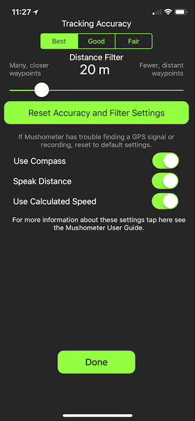 GPS Settings Screen